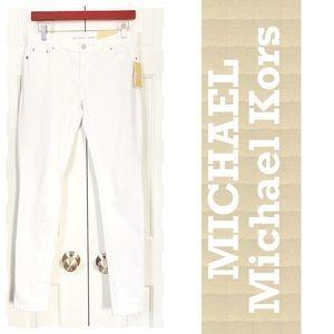 MICHAEL Kors white denim stretch skinny jeans 2